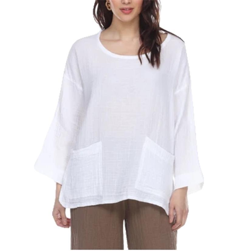 Honest Cotton Beach Pocket Women's Tunic Assorted Colors WHITE