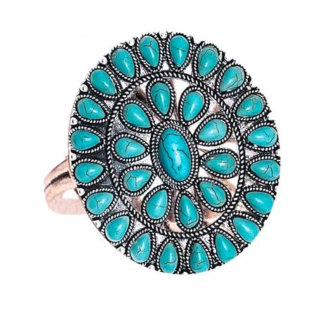 West and Company Oval Teardrop Turquoise Cluster Ring