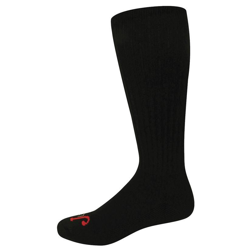 Justin Half Calf Cushion Over The Calf Black Socks - 3 Pack