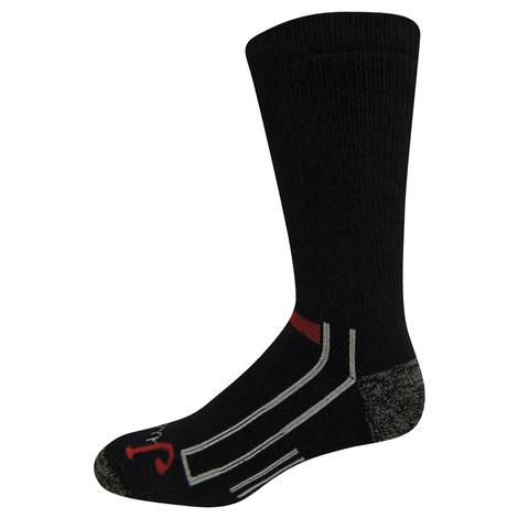 Justin Full Cushion Black Crew Socks - 2 Pack