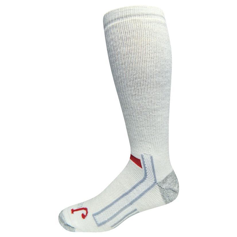 Justin Full Cushion Over The Calf White Socks - 2 Pack