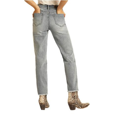 Rock and Roll Cowgirl High Rise Distressed Straight Crop Jeans