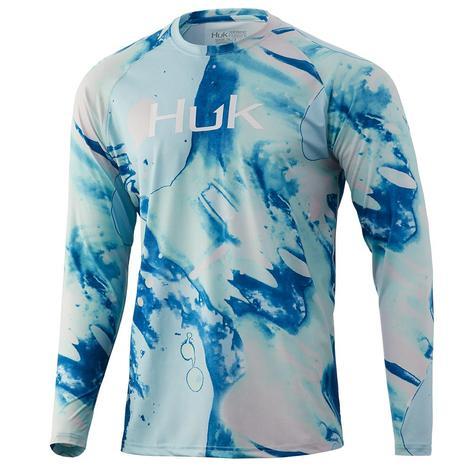 HUK Seafoam Tie Dye Lava Pursuit Long Sleeve Men's Shirt
