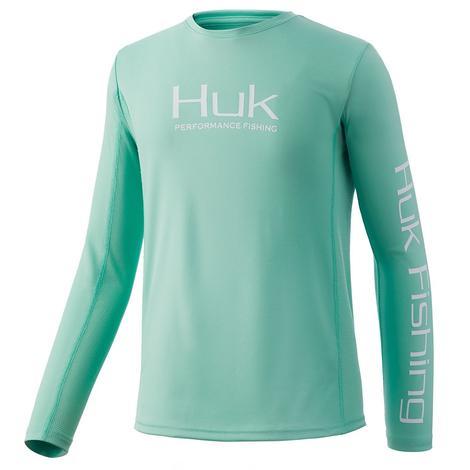 HUK Icon X Seafoam Long Sleeve Boy's Youth Shirt