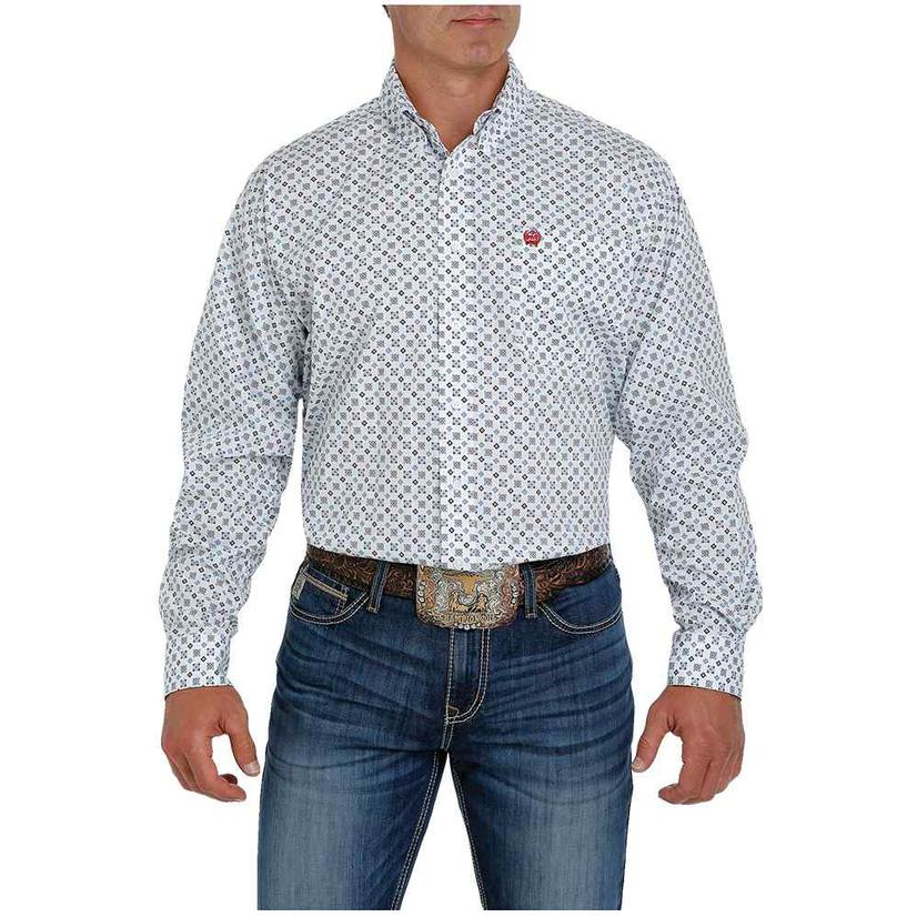 Cinch Black Grey White Print Long Sleeve Buttondown Men's Shirt