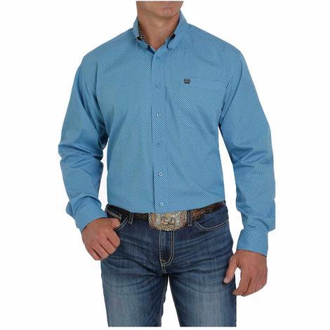 Cinch Blue Print Long Sleeve Buttondown Men's Shirt