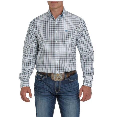 Cinch Black Blue Plaid Long Sleeve Buttondown Men's Shirt