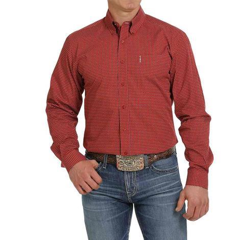 Cinch Modern Fit Red Print Long Sleeve Buttondown Men's Shirt