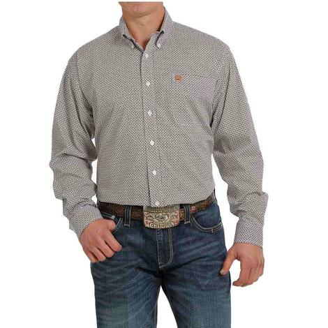 Cinch White Print Long Sleeve Buttondown Men's Shirt