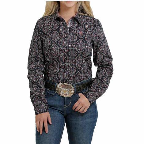 Cinch Navy Print Long Sleeve Buttondown Women's Shirt