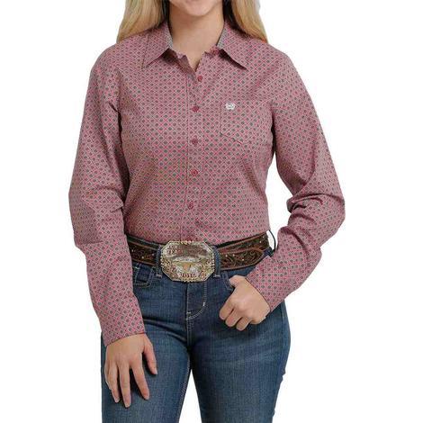 Cinch Pink Print Long Sleeve Buttondown Women's Shirt