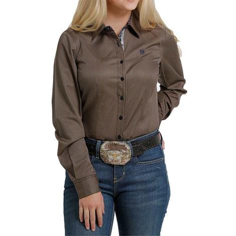 Cinch Brown Stripe Tencel Long Sleeve Buttondown Women's Shirt