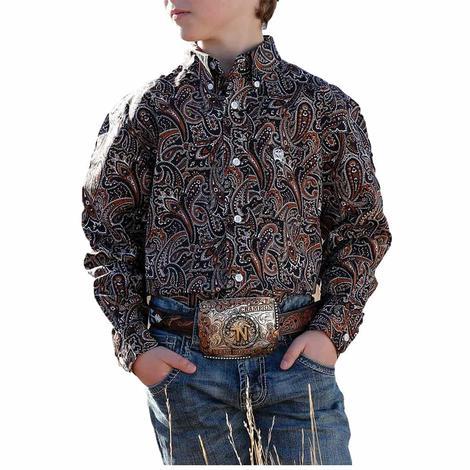 Cinch Multi Paisley Print Long Sleeve Buttondown Boy's Shirt
