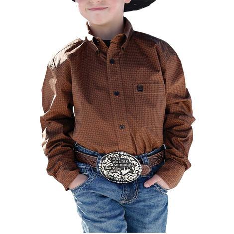 Cinch Rust Print Long Sleeve Buttondown Boy's Shirt