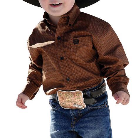 Cinch Rust Print Long Sleeve Buttondown Toddler Boy's Shirt