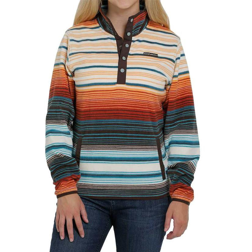 Cinch Sunset Stripe Printed Fleece Women's Pullover