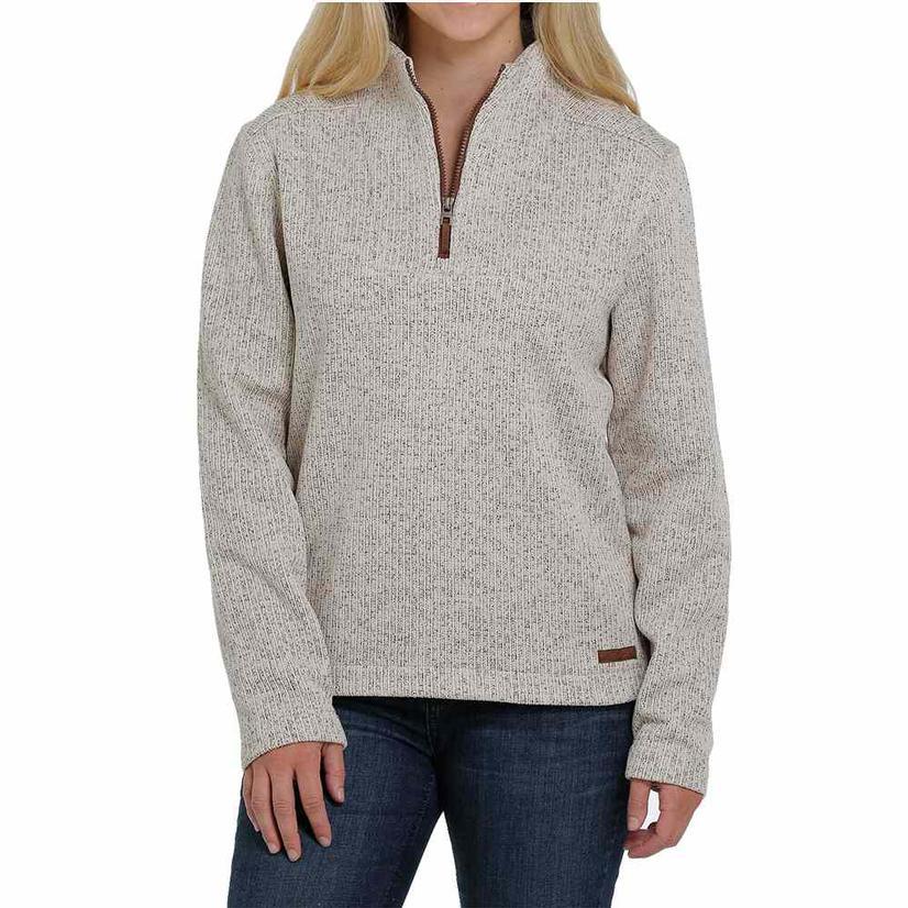 Cinch Oatmeal Cream Sweater Knit Quarter Zip Women's Pullover