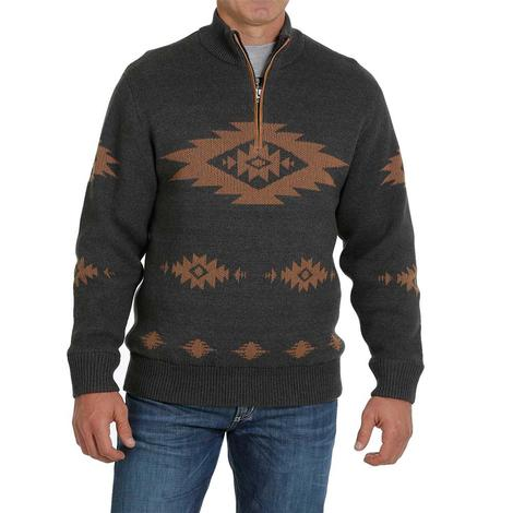 Cinch Charcoal and Brown Aztec Sweater Men's Pullover
