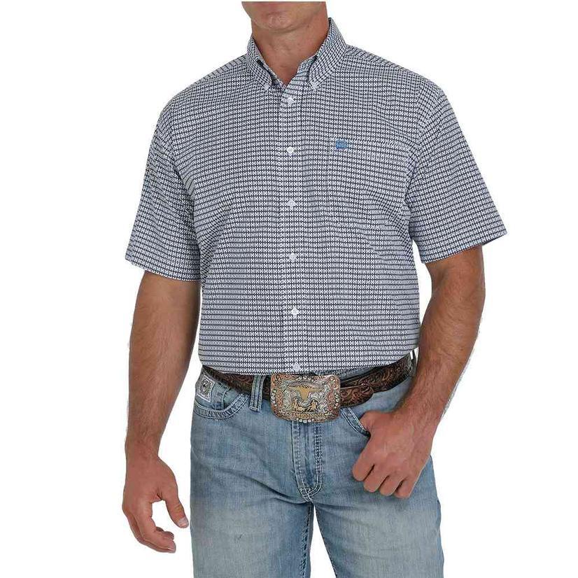 Cinch White Blue Print Short Sleeve Buttondown Men's Shirt