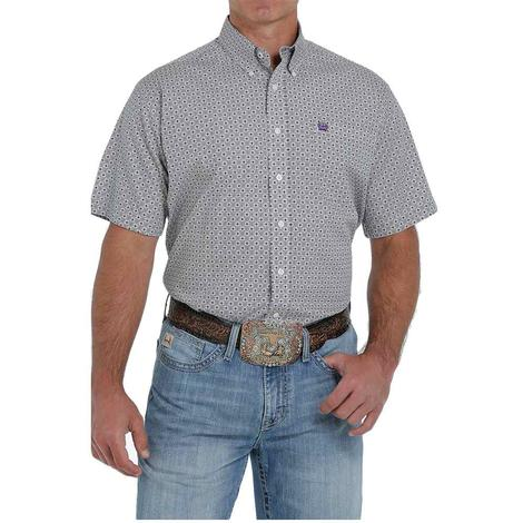Cinch White Print Short Sleeve Buttondown Men's Shirt