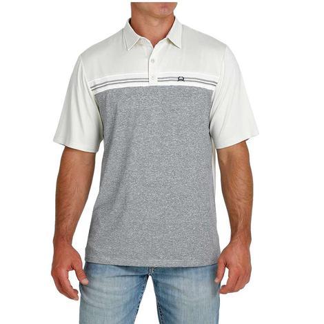 Cinch Cream and Grey Short Sleeve Men's Polo Shirt