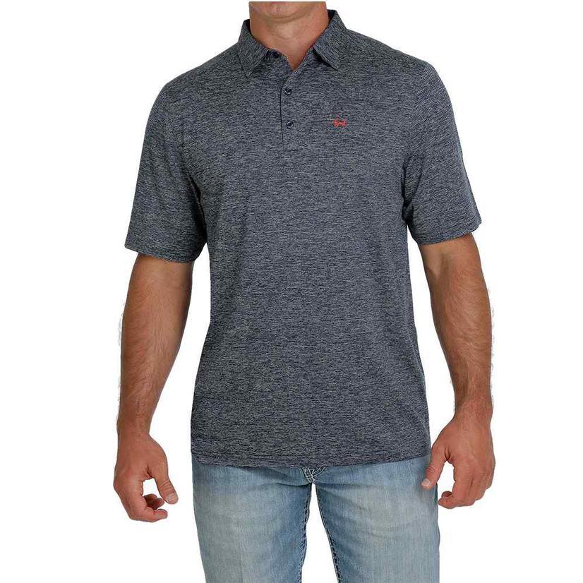 Cinch Heathered Navy Short Sleeve Men's Polo Shirt
