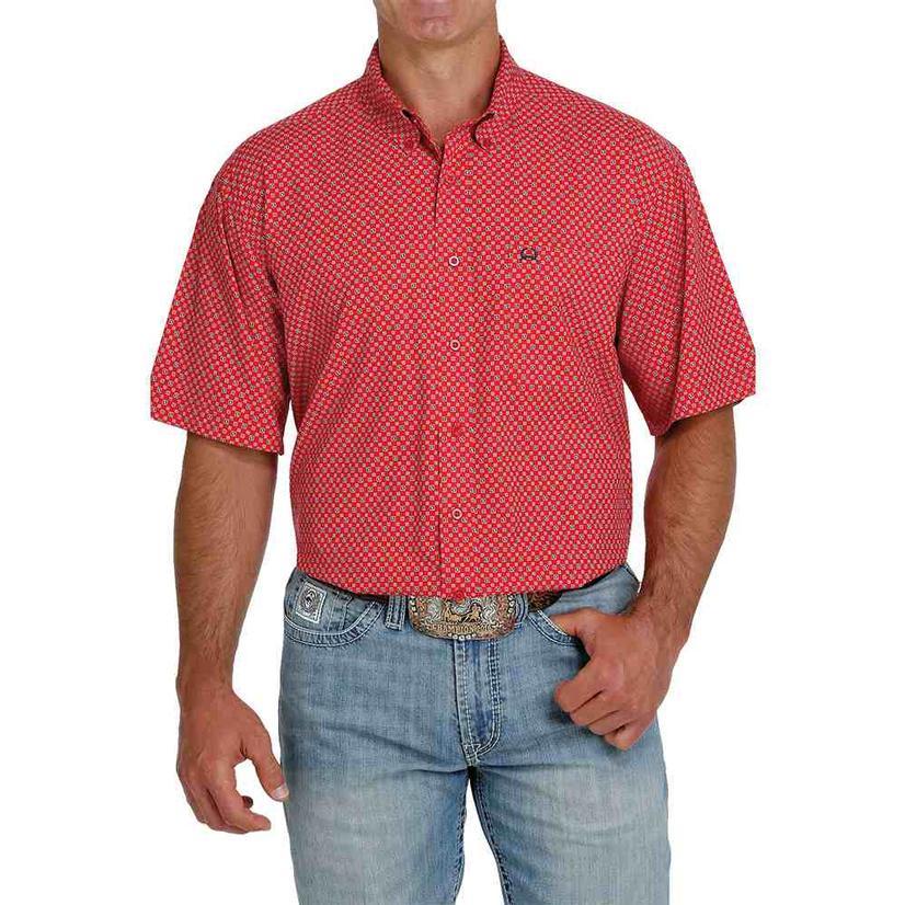 Cinch Arenaflex Red Print Short Sleeve Buttondown Men's Shirt