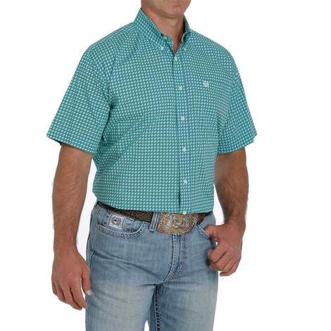 Cinch Turquoise Print Short Sleeve Buttondown Men's Shirt
