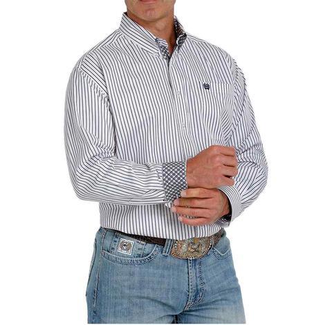 Cinch White Pink Blue Tencel Stripe Long Sleeve Buttondown Men's Shirt