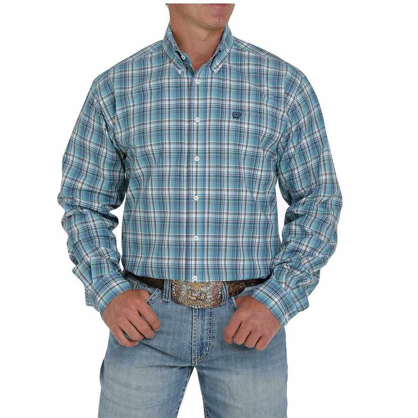 Cinch Multi Blue Plaid Long Sleeve Buttondown Men's Shirt
