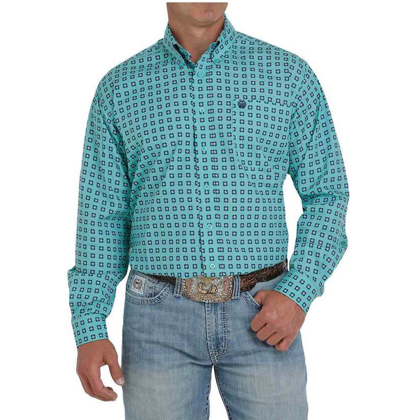 Cinch Turquoise Print Long Sleeve Buttondown Men's Shirt