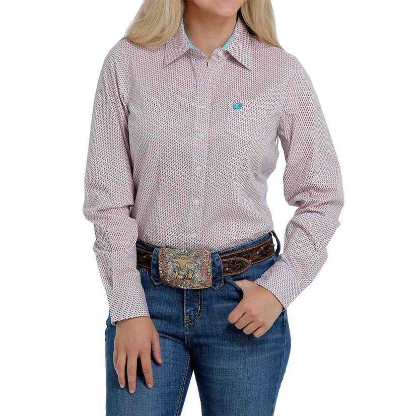 Cinch Pink Multi Print Long Sleeve Buttondown Women's Shirt
