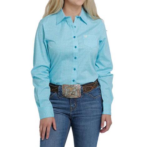 Cinch Turquoise Print Stretch Long Sleeve Buttondown Women's Shirt
