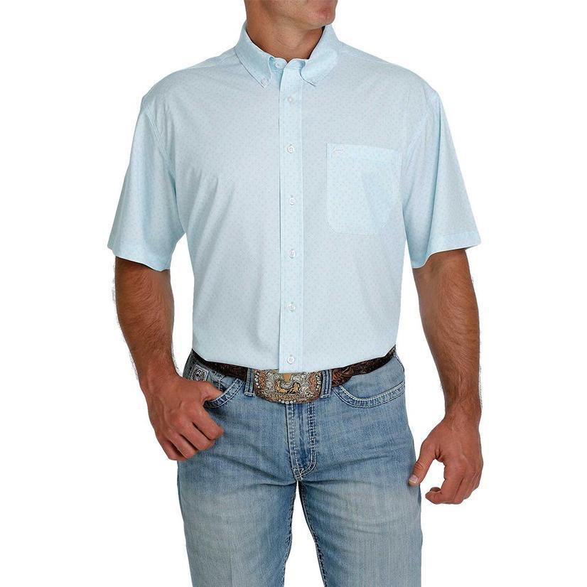 Cinch Arenaflex Light Blue Print Short Sleeve Buttondown Men's Shirt