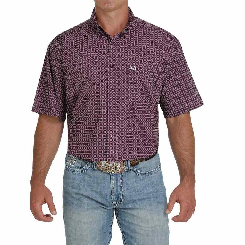 Cinch Arenaflex Purple Print Short Sleeve Buttondown Men's Shirt