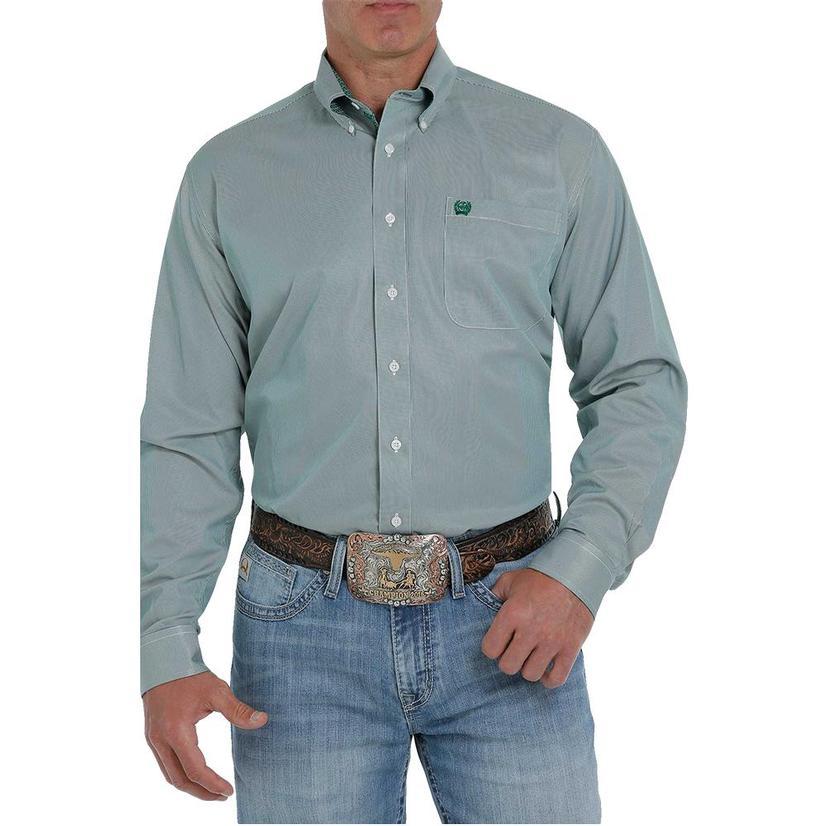 Cinch Green Tencel Pinstripe Long Sleeve Buttondown Men's Shirt