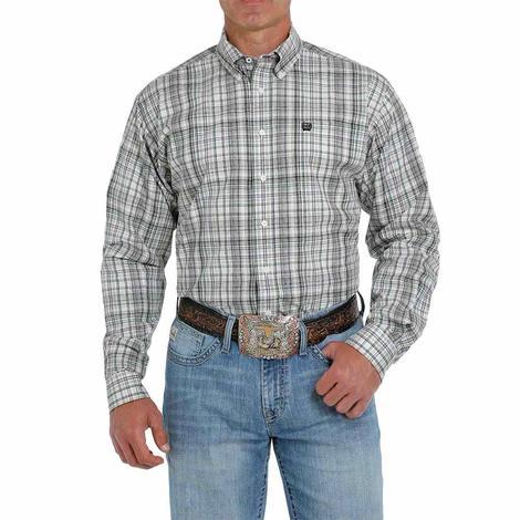 Cinch White Green Multi Plaid Long Sleeve Buttondown Men's Shirt