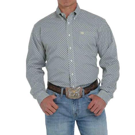 Cinch White Green Print Long Sleeve Buttondown Men's Shirt