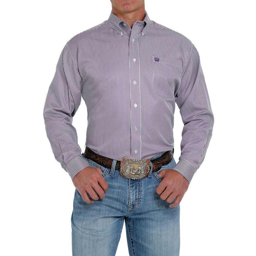 Cinch Purple Stripe Tencel Long Sleeve Buttondown Men's Shirt