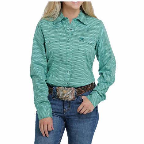Cinch Green Print Long Sleeve Snap Women's Shirt
