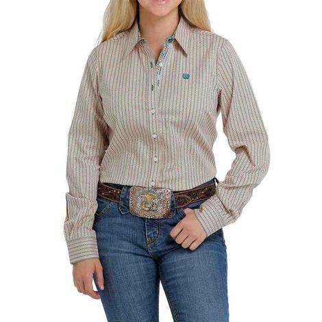 Cinch Multi Stripe Print Long Sleeve Buttondown Women's Shirt