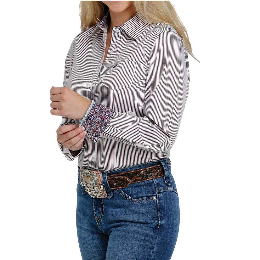 Cinch Multi Stripe Tencel Long Sleeve Buttondown Women's Shirt
