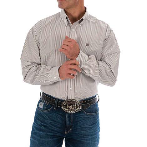 Cinch Khaki Stripe Long Sleeve Buttondown Men's Shirt