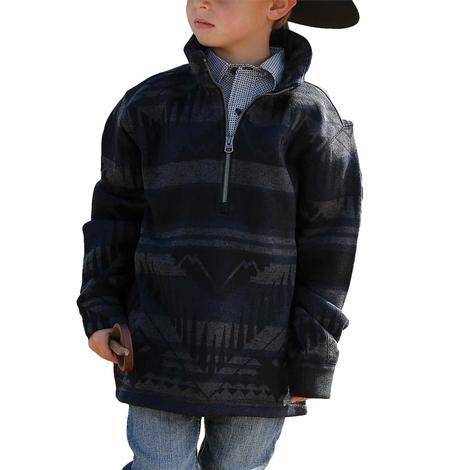 Cinch Blue Tonal Aztec Print Fleece Boy's Pullover