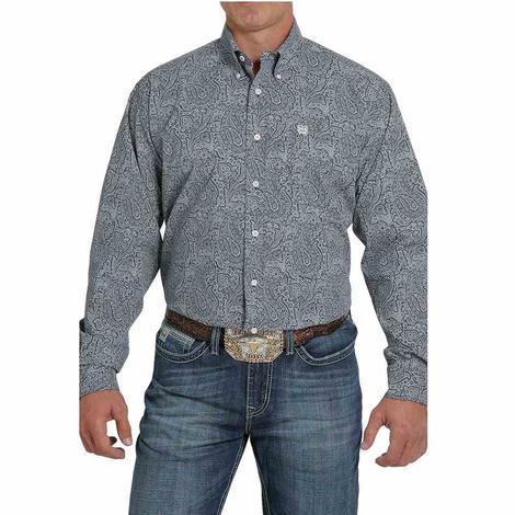 Cinch Navy Grey Paisley Stripe Long Sleeve Buttondown Men's Shirt - Extended Sizes