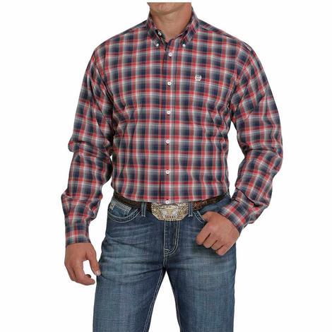 Cinch Navy Red Plaid Long Sleeve Buttondown Men's Shirt