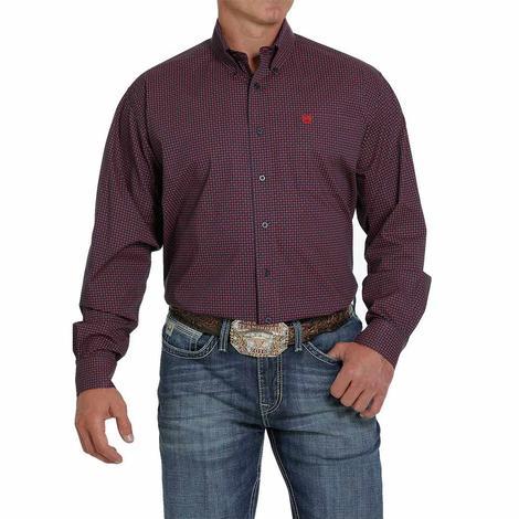 Cinch Navy Red Print Stretch Long Sleeve Buttondown Men's Shirt