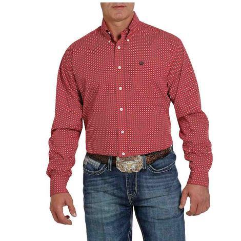 Cinch Red Print Long Sleeve Buttondown Men's Shirt
