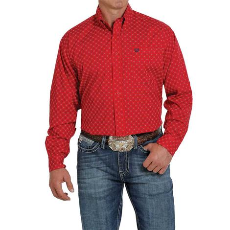 Cinch Red Print Stretch Long Sleeve Buttondown Men's Shirt