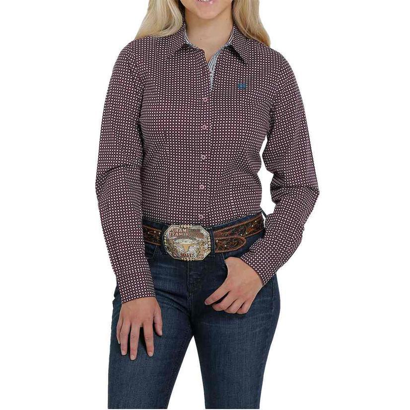 Cinch Purple Print Long Sleeve Buttondown Women's Shirt
